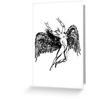ICARUS THROWS THE HORNS - solid black NEW DESIGN Greeting Card