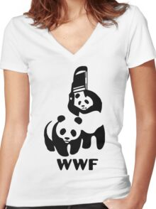 Panda Wrestling - ONE:Print Women's Fitted V-Neck T-Shirt