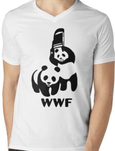 Panda Wrestling - ONE:Print Mens V-Neck T-Shirt