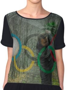 Golfer and Olympic Rings Women's Chiffon Top