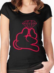 Diamond Cartoon Hand's  Women's Fitted Scoop T-Shirt