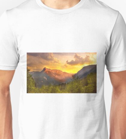 Orange Sunset in the alps Unisex T-Shirt