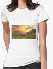 Orange Sunset in the alps Womens Fitted T-Shirt
