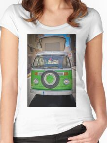 Green VW Camper  Women's Fitted Scoop T-Shirt