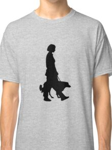 Dog walking with girl silhouette Classic T-Shirt