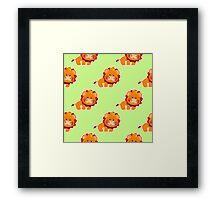baby pattern with a cute little lion Framed Print