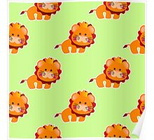 baby pattern with a cute little lion Poster