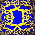A Celtic Knotwork design in Blue and Gold by Dennis Melling