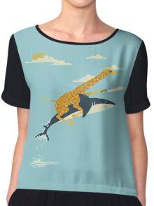 Giraffe riding shark  Women's Chiffon Top