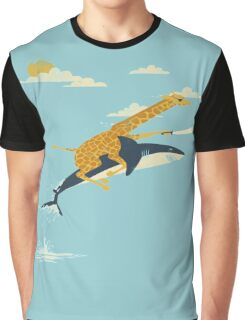 Giraffe riding shark  Graphic T-Shirt