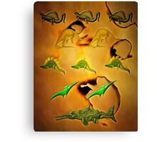 An Old Parchment Containing Illustrations of Dinosaurs Canvas Print