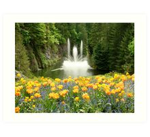 Butchart Gardens Fountain in Spring Art Print