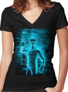 Virtual Reality User Women's Fitted V-Neck T-Shirt