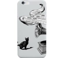 The Cat and the Song (black and white) iPhone Case/Skin