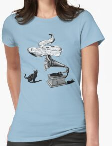 The Cat and the Song (black and white) Womens Fitted T-Shirt