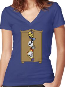 Skeletons in the Cupboard! Women's Fitted V-Neck T-Shirt