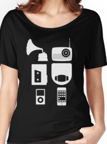 The History Of Portable Music Devices in Six Easy Steps Women's Relaxed Fit T-Shirt