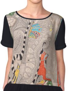 The forest. Animals familiar and unfamiliar. Women's Chiffon Top