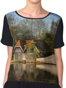 Boat Houses on the River Thames Chiffon Top