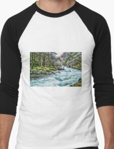 Blue Flowing Stream Men's Baseball ¾ T-Shirt