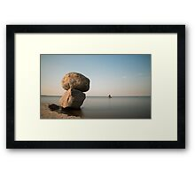 The sun began to sink over the horizon Framed Print