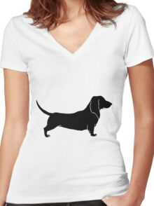 Bloodhound dog silhouette Women's Fitted V-Neck T-Shirt