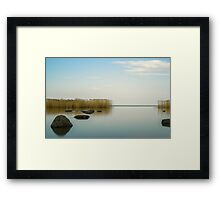 the blue sky is reflected Ladoga lake Framed Print