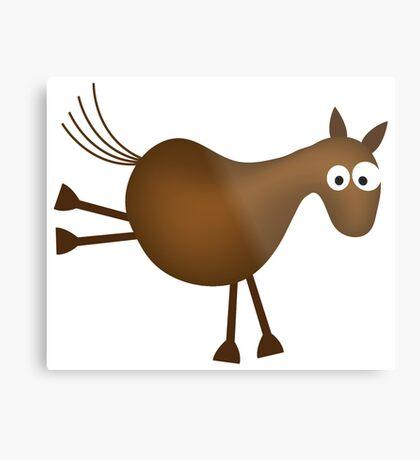 Funny horse cartoon Metal Print