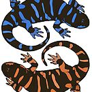 Lizards Blue-Orange by Colin Bentham
