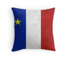 Flag of Acadia Distressed Grunge Throw Pillow