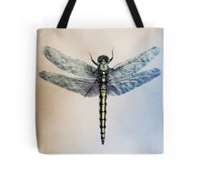 Top view of a dragonfly on a pastel background Tote Bag