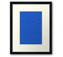 White Tetris Pattern Framed Print