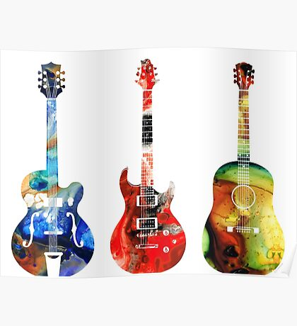 Guitar Threesome - Colorful Guitars By Sharon Cummings Poster