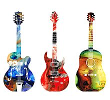 Guitar Threesome - Colorful Guitars By Sharon Cummings Photographic Print