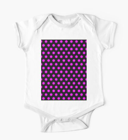 Polkadots Black and Pink One Piece - Short Sleeve