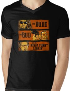 The Dude, the Bud and the Kinda Funny Lookin' Mens V-Neck T-Shirt