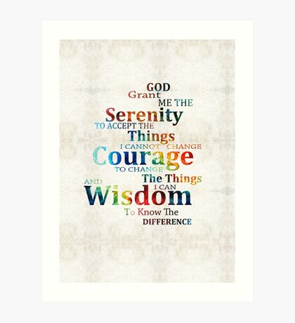 Colorful Serenity Prayer by Sharon Cummings Art Print