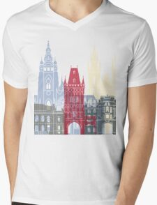 Prague skyline poster Mens V-Neck T-Shirt