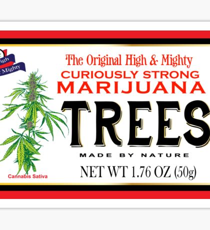 Curiously Strong Marijuana Trees  Sticker