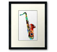Colorful Saxophone by Sharon Cummings Framed Print