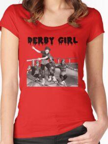 DERBY GIRL ROLLERSKATE VINTAGE ROLLERDERBY gerry murray Women's Fitted Scoop T-Shirt