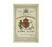 Programme for the visit of Queen Victoria to Sheffield, 1897 Art Print