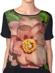 Exotic Beauty - Unusual Peony Basking in the Sunshine - a Vertical View Chiffon Top
