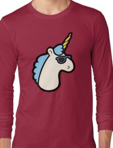 Unicorns Are Cool Pattern - Blue Long Sleeve T-Shirt