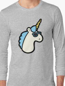 Unicorns Are Cool Pattern - Blue Long Sleeve T-Shirt