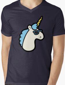 Unicorns Are Cool Pattern - Blue Mens V-Neck T-Shirt