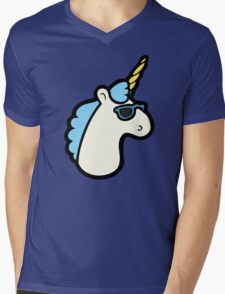 Unicorns Are Cool Pattern - Blue Mens V-Neck T-Shirt