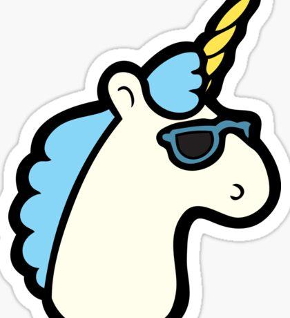 Unicorns Are Cool Pattern - Blue Sticker
