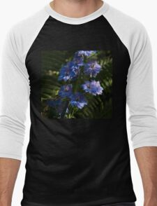 Larkspurs and Ferns - a Lush Summer Garden Men's Baseball ¾ T-Shirt
