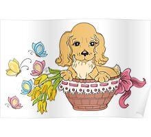 Dog in flower basket Poster